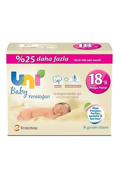 Uni Baby Yenidoðan 18x50'li Islak Pamuk Mendil 900 Yaprak