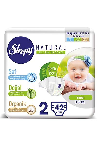 Sleepy Natural Bebek Bezi 2 Numara Mini
