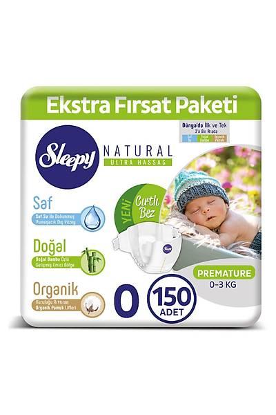 Sleepy Natural Bebek Bezi 0 Numara Premature 150 Adet