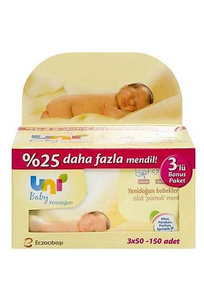 Uni Baby Yenidoðan Islak Pamuk Mendil 3X50 Avantaj Paket / 150 Yaprak