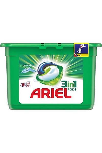 Ariel 3'ü 1 Arada Pods 15 Yýkama Sývý Çamaþýr Deterjaný Kapsülü Dað Esintisi Beyazlar için