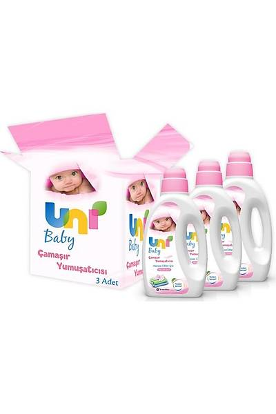 Uni Baby Çamaþýr Yumuþatýcýsý 1.500 ml 3'lü Ekonomik Fýrsat Paketi