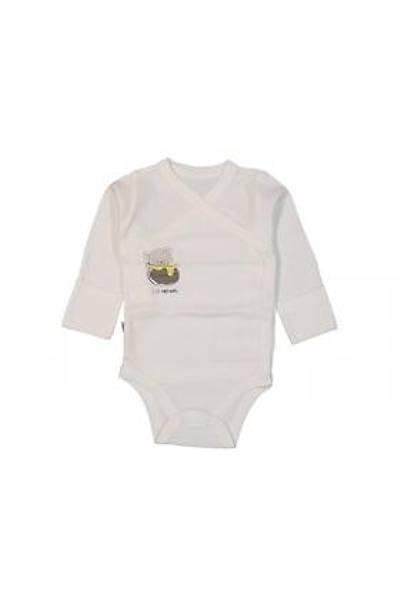 Ayýcýk Baskýlý Kendinden Eldivenli Kruvaze Çýtçýtlý Bebe Body