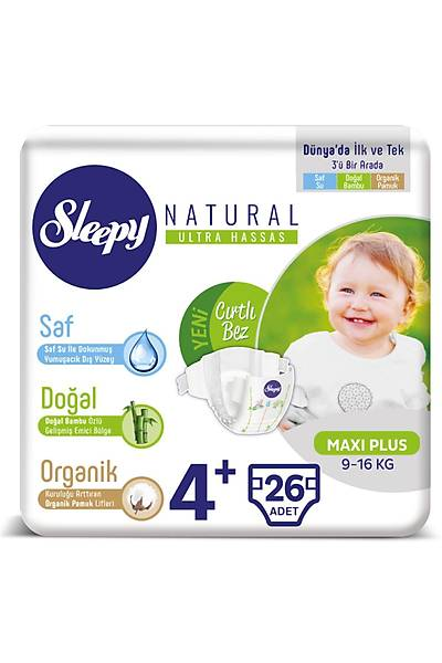 Sleepy Natural Bebek Bezi 4+ Numara Maxi Plus