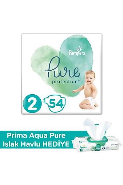 Prima Pure Bebek Bezi 2 Beden 54'lü + Prima Aqua Pure Islak Havlu Hediyeli