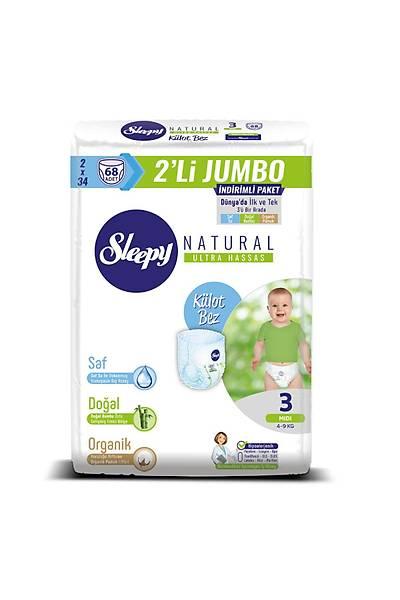 Sleepy Natural Külot Bez 3 Numara Midi 2'LÝ JUMBO