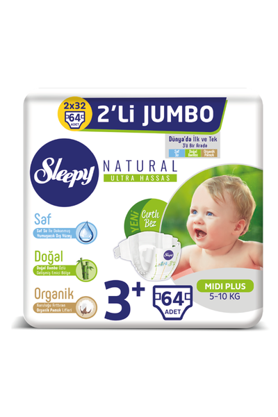 Sleepy Natural Bebek Bezi 3+ Numara Midi Plus 2'LÝ JUMBO