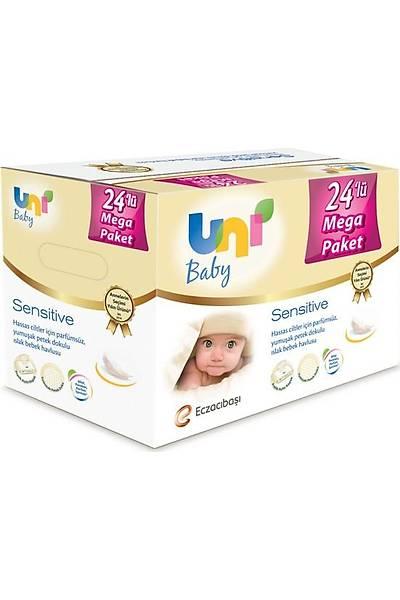 Uni Baby Sensitive Islak Havlu 24'lü Ekonomik Fýrsat Paketi 24x56 (1344 Yaprak)