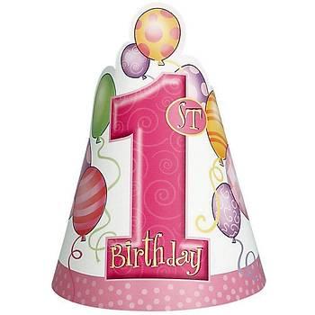 First Birthday Balon Pembe Külah Þapka