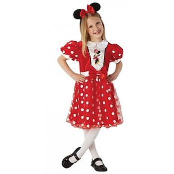 Minnie Mouse Çocuk Kostüm 5-6 Yaþ Kýrmýzý Glitz