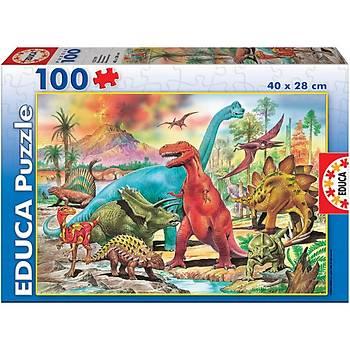 Educa Çocuk Puzzle Karton 100 Dinozorlar
