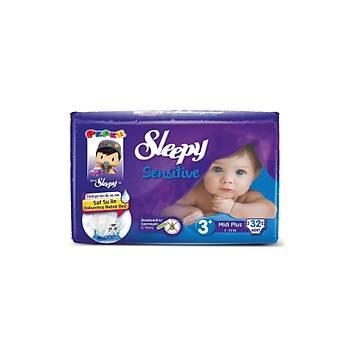 Sleepy Sensitive Pepee Midi Plus 3+ Numara Bebek Bezi 32 Adet (5-10 Kg)