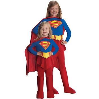 Super Girl Streç Kýz Çocuk Kostümü 12-14 Yaþ