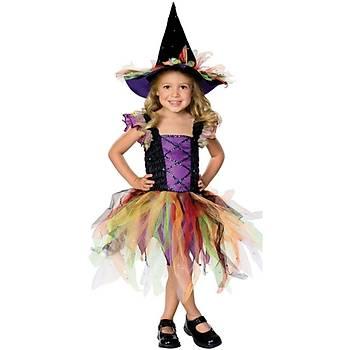 Renkli Cadý Kýz Çocuk Kostümü 5-7 Yaþ