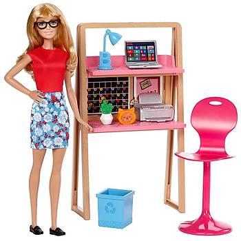 Barbie Bebek ve Çalýþma Masasý Oyun Seti DVX52