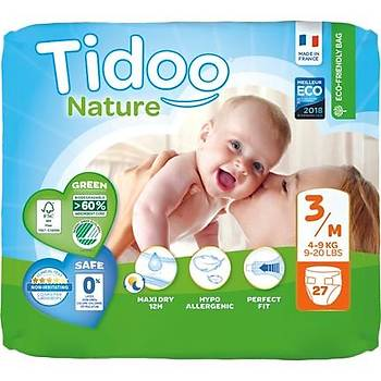 Tidoo Antialerjik-Ekolojik Bebek Bezi No:3 Midi Single 4-9 Kg 27 Adet
