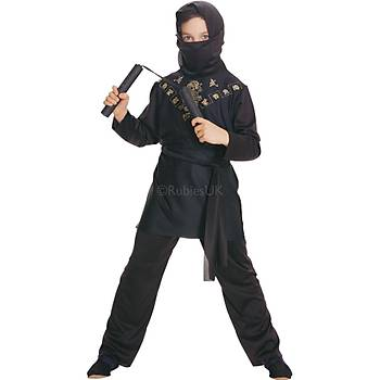 Siyah Ninja Çocuk Kostümü Klasik 5-6 Yaþ
