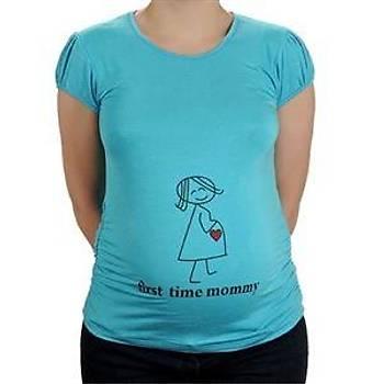 Elija Hamile Kýsa Kollu Kalp T-Shirt