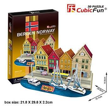 Cubic Fun 3D 44 Parça Puzzle Bergen Ýskelesi - Norveç