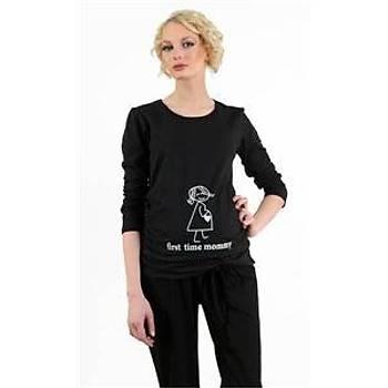 Elija Kalp Desenli Uzun Kollu T-Shirt