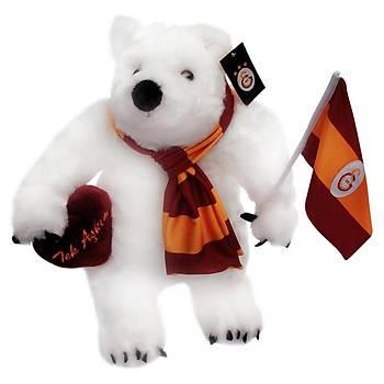 Galatasaray Bayraklý ve Kalpli Kutup Ayýsý Peluþ Oyuncak