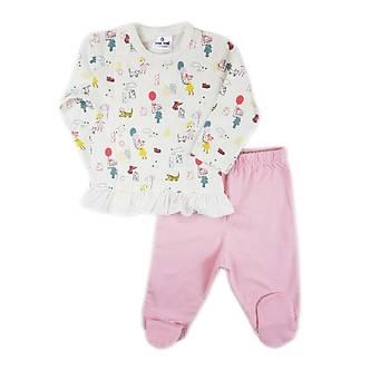 Luggi Baby Balon Desenli Fýrdýrlý  Önden Çýtçýtlý Patikli Pijama Takýmý