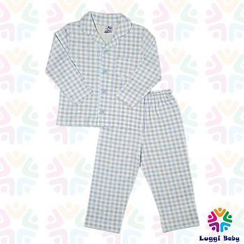 Luggi Baby Ekose Mavi Pijama Takým