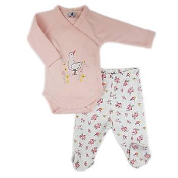 Luggi Baby Çiçek Desen Çýtçýtlý Body Patikli Pijama Takýmý