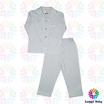 Luggi Baby  Mavi Çizgili  Pijama Takým