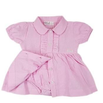 Kýz Bebek Pembe Gömlek Yaka Önden Düðmeli Fýrfýrlý Kendinden Külotlu Elbise