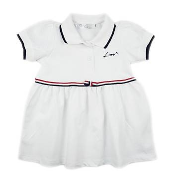 Beyaz Polo Yaka Kýsa Kol Elbise