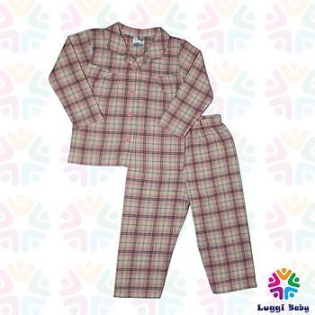 Luggi Baby Dokuma Ekose Pembe Pijama Takým