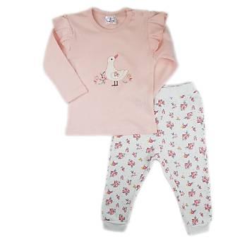 Luggi Baby Omuz Fýrfýrlý Çiçek Desenli Pijama Takýmý