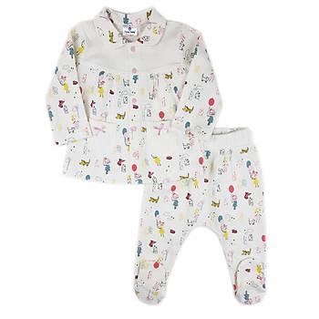 Luggi Baby Balon Desenli  Bebe Yaka Pijama Takýmý