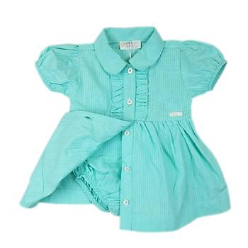 Kýz Bebek Turkuaz Gömlek Yaka Önden Düðmeli Fýrfýrlý Kendinden Külotlu Elbise