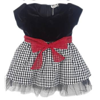 Luggi Baby Kadife Kýrmýzý Kurdeleli Elbise