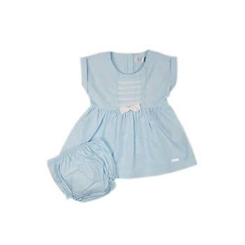 Bebe Mavisi Kýsa Kol Ön Tarafta Fiyonk Detaylý Elbise Takým
