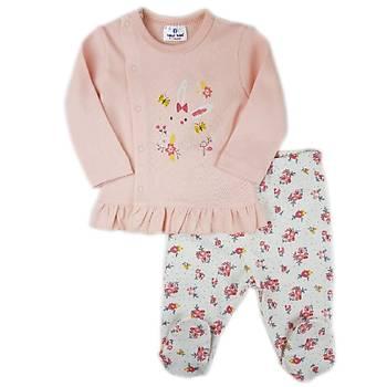 Luggi Baby Fýrfýrlý Çiçekli Patikli Pijama Takýmý