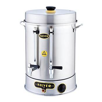 Silver Çevirmeli Çay Makinesi 40 Bardak Kapasiteli 5 L