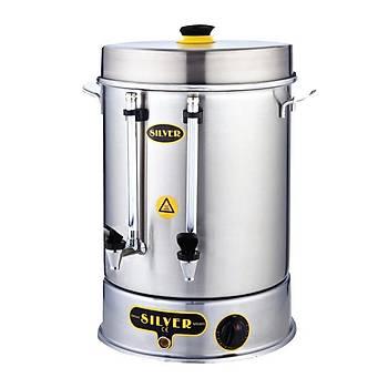 Silver Metal Basmalý Çay Makinesi 40 Bardak Kapasiteli 5 L