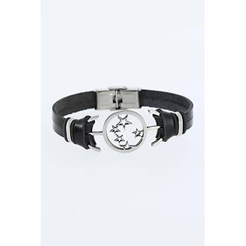 Midyatziv Silver Renk Yýldýz Figürlü Metal Aksesuarlý Siyah Renk Deri Erkek Bileklik midyatziv