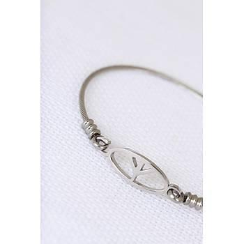 Midyatziv Silver Çelik Barýþ Figürlü Erkek Kelepçe Bileklik midyatziv