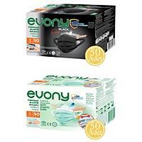 EVONY Cerrahi Maske 50 Siyah + 50 Yeþil (Ücretsiz Kargo )