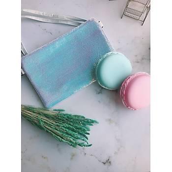 Mavi Payet Clutch Çanta