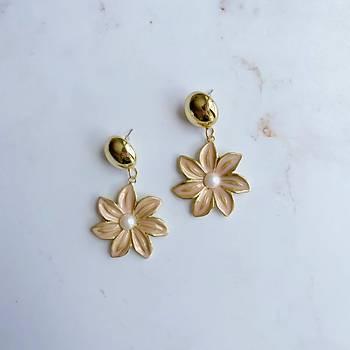 Gold Çiçek Küpe