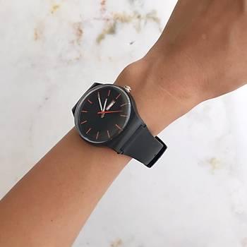 Colorful Siyah Silikon Kol Saati