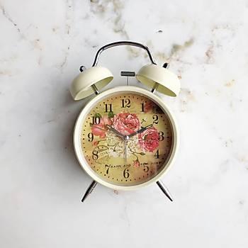 Nostaljik Dekoratif Krem Renk Çalar Saat