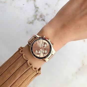 Kronograf Tasarým Rose Gold Kadýn Kol Saati