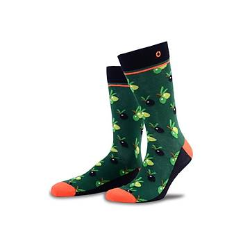 Olive Zeytin Desenli Renkli Çorap