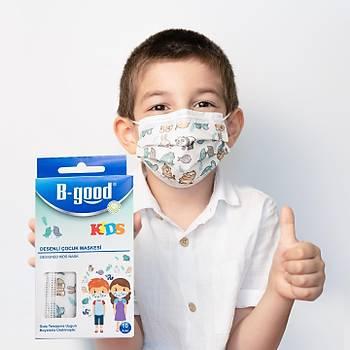 B-Good Kids Desenli Çocuk Maskesi - 3 Katlý - Sertifikalý - 10 Adet